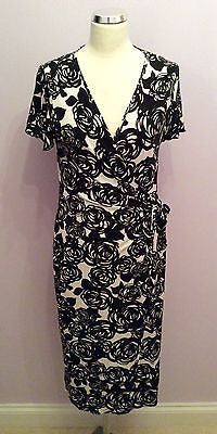 East Black & White Floral Print Wrap Cap Sleeve Dress Size 14 - Whispers Dress Agency - Sold - 1
