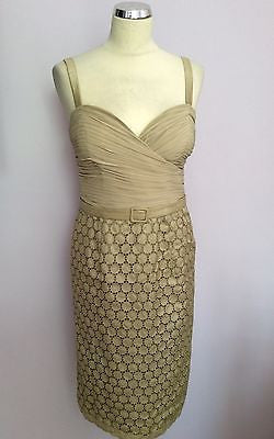 Frank Usher Pale Gold / Beige Silk Pencil Dress Size 12 - Whispers Dress Agency - Sold - 1