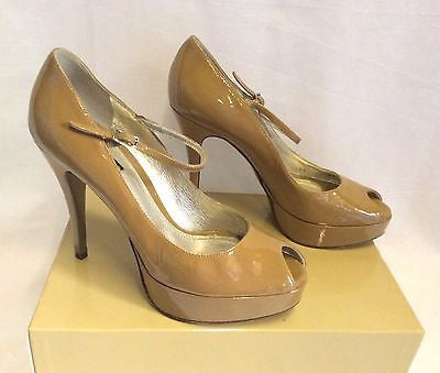 Dolce & Gabbana Camel Patent Leather Peeptoe Heels Size 5.5/38.5 - Whispers Dress Agency - Womens Heels - 3