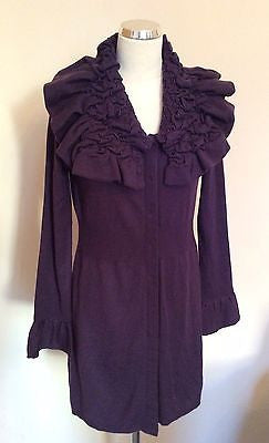 Per Una Deep Purple Ruched Collar Long Cardigan Size 12 - Whispers Dress Agency - Sold - 1
