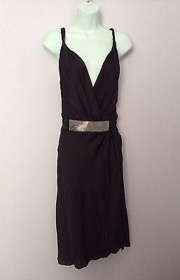 Amanda Wakeley Dark Plum Silk With Silver Bead Cumberband Dress Size 8 - Whispers Dress Agency - Sold - 1
