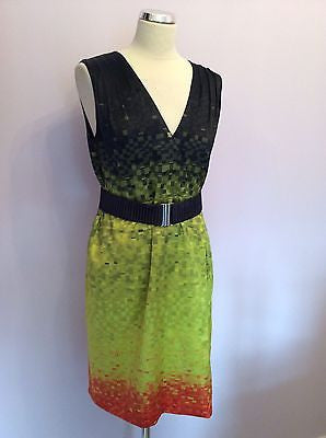Karen Millen Print V Neck Belted Silk Dress Size 12 - Whispers Dress Agency - Sold - 1