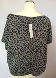 Brand New With Tags French Connection Grey Leopard Print Loose Fit Short Sleeve Top Size M - Whispers Dress Agency - Womens Tops - 2