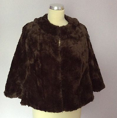 Monsoon Dark Brown Faux Fur Feel Jacket Size 16 - Whispers Dress Agency - Womens Coats & Jackets - 1
