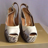 Sergio Rossi Ivory/Beige Canvas & Leather Wedge Heel Peeptoe Sandals Size 3/36 - Whispers Dress Agency - Womens Wedges - 2