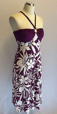 Star By Julien Macdonald Plum & White Print Halterneck Dress Size 8 - Whispers Dress Agency - Sold - 1