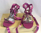 Karen Millen Pink Jewelled Ribbon Tie Sandals Size 4.5/37.5 - Whispers Dress Agency - Sold - 1