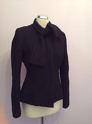 Betty Jackson Studio Black Scarf Neck Jacket Size 12 - Whispers Dress Agency - Sold - 1