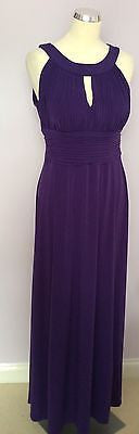 Purple Pleated Top Long Maxi Dress Size 14 - Whispers Dress Agency - Sold - 1