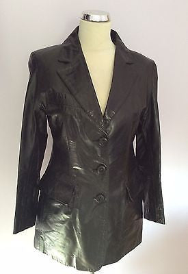 Designer Unknown Black Leather Long Jacket Size 10 - Whispers Dress Agency - Sold - 1
