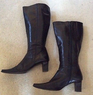 Italian Ca'd'oro Black Leather Heeled Knee High Boots Size 7.5/ 41 - Whispers Dress Agency - Sold - 1