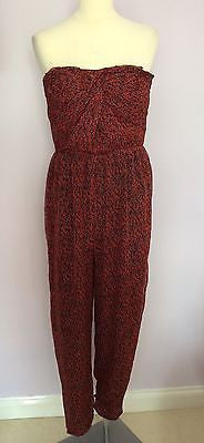 Iska Red Print Strapless Jumpsuit Size M - Whispers Dress Agency - Sold - 1