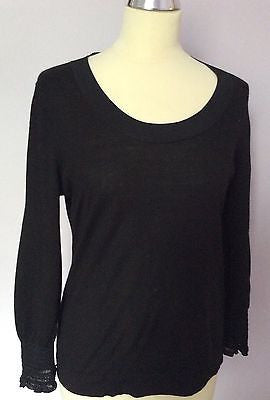 Jaeger Black Scoop Neck Ruched Cuffs Jumper Size L - Whispers Dress Agency - Sold - 1