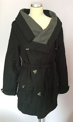 Firetrap Black Belted Cotton Jacket Size L - Whispers Dress Agency - Womens Coats & Jackets - 1