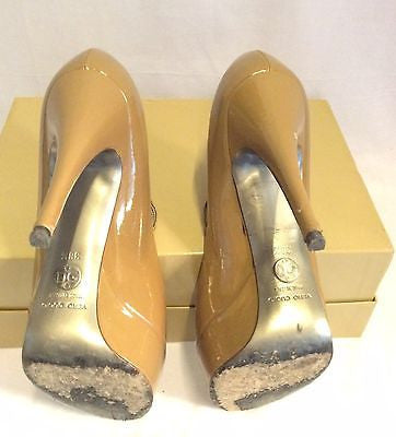 Dolce & Gabbana Camel Patent Leather Peeptoe Heels Size 5.5/38.5 - Whispers Dress Agency - Womens Heels - 6