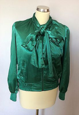 Bolongaro Trevor Emerald Green Satin Tie Neck Zip Front Jacket Size S - Whispers Dress Agency - Sold - 1