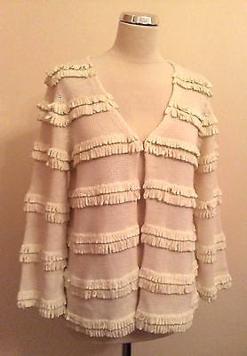 Reiss Cream Fringed Trim Cardigan Size L - Whispers Dress Agency - Sold - 1