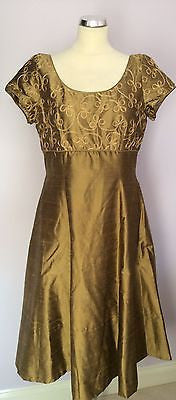 Monsoon Twilight Antique Gold Silk Dress Size 16 - Whispers Dress Agency - Sold - 1