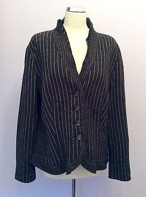 Gerry Weber Dark Grey Pinstripe Wool Blend Cardigan / Jacket Size 16 - Whispers Dress Agency - Sold - 1