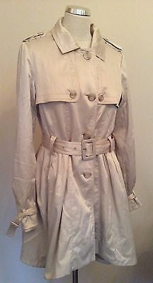 Philosophy Blues Original Cream Satin Feel Trench Mac / Coat Size 40 UK 8/10 - Whispers Dress Agency - Sold - 1
