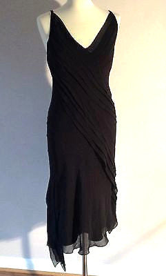 Pearce Fionda Black Silk Pleated Detail Strappy Dress Size 10 - Whispers Dress Agency - Womens Eveningwear - 1