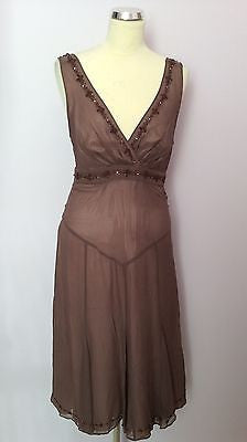 Ted Baker Brown Silk Beaded Dress Size 3 UK 12 - Whispers Dress Agency - Sold - 1