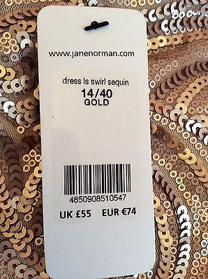 Brand New Jane Norman Gold Sequin Swirl Dress Size 14 - Whispers Dress Agency - Clearance - 4
