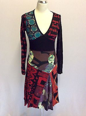 Brand New Desigual Black Print Cotton V Neck Dress Size S - Whispers Dress Agency - Sold - 1