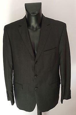 Smart Hugo Boss Dark Grey & Brown Pinstripe Wool Suit Jacket Size 50 UK 40 - Whispers Dress Agency - Mens Suits & Tailoring - 1