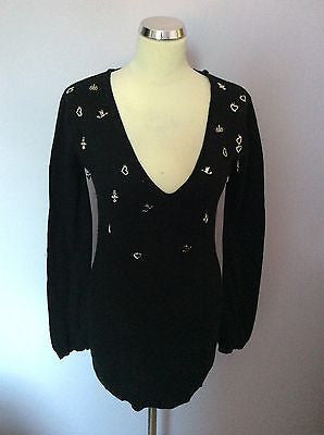 Y London Black & Silver Charm Trims V Neck Hooded Jumper Size M - Whispers Dress Agency - Sold - 1
