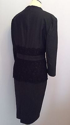 Brand New Jaeger Grey & Black Lace Trim Wool & Silk Dress Size 16 RRP £560 - Whispers Dress Agency - Sold - 3