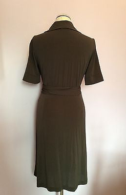 APANAGE DARK BROWN SHORT SLEEVE STRETCH WRAP DRESS SIZE 10 - Whispers Dress Agency - Womens Dresses - 3