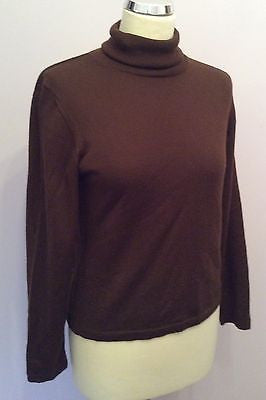 Burberry Dark Brown Polo Neck Extra Fine Merino Wool Jumper Size L - Whispers Dress Agency - Sold - 1