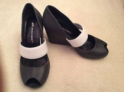 Designer United Nude Black & White Velcro Strap Peeptoe Wedge Heels Size 4/37 - Whispers Dress Agency - Womens Wedges - 1