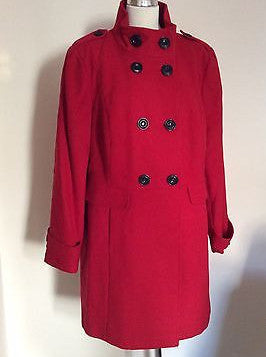 New Marks & Spencer Red Double Breasted Coat Size 22 - Whispers Dress Agency - Sold - 1