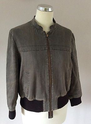All Saints Brown Cotton Blend Zip Up Jacket Size 10 - Whispers Dress Agency - Sold - 1