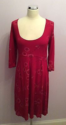 White Stuff Deep Pink Print Scoop Neck Stretch Jersey Dress Size 14 - Whispers Dress Agency - Sold - 1