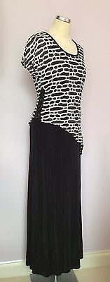 Joseph Ribkoff Black & White Stretch Long Evening Dress Size 12 - Whispers Dress Agency - Sold - 1
