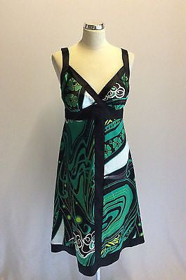 Star By Julien Macdonald Black & Green Print Satin Dress Size 10 - Whispers Dress Agency - Womens Dresses - 1