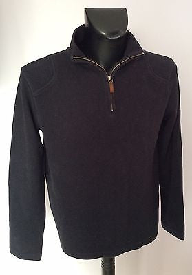 Jaeger Black Cotton Zip Neck Jumper Size M - Whispers Dress Agency - Sold - 1