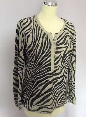 Betty Barclay Beige & Grey Print Scoop Neck Jumper Size 16 - Whispers Dress Agency - Sold - 1