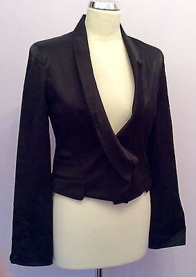 Full Circle Black Satin Fitted Evening Jacket Size M/12 - Whispers Dress Agency - Sold - 1