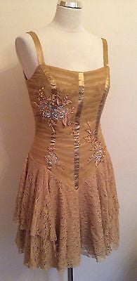 Brand New Bicici Gold Lace Trim Bead & Sequin Appliqué Silk Cocktail Dress Size M - Whispers Dress Agency - Womens Eveningwear - 1