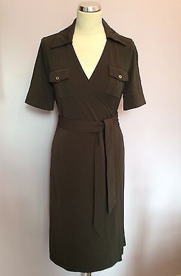 APANAGE DARK BROWN SHORT SLEEVE STRETCH WRAP DRESS SIZE 10 - Whispers Dress Agency - Womens Dresses - 1