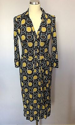 Hobbs Brown, Mustard & Green Print Tie Belt Dress Size 8 - Whispers Dress Agency - Sold - 1