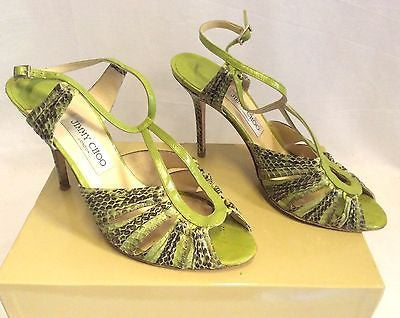 Jimmy Choo Raven Elaphe Green Snakeskin Strappy Heel Sandals Size 7/40.5 - Whispers Dress Agency - Womens Sandals - 1
