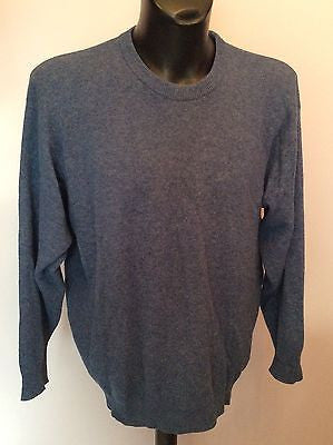 Jaeger Blue Wool Crew Neck Jumper Size L - Whispers Dress Agency - Sold - 1