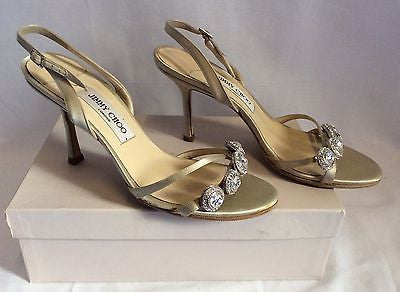 Jimmy Choo Nude Silk Satin Jewel Strappy Heel Sandals Size 7/40 - Whispers Dress Agency - Womens Sandals - 2