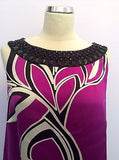 MONSOON FUSHIA PINK,BLACK & WHITE PRINT BEADED NECK SILK SHIFT DRESS SIZE 14 - Whispers Dress Agency - Womens Special Occasion - 4