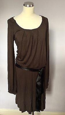 Brand New Naf Naf Brown Scoop Neck Belted Jersey Dress Size M - Whispers Dress Agency - Womens Dresses - 1